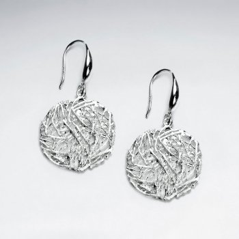 Charming Modern Bird Nest Circle Silver Earring
