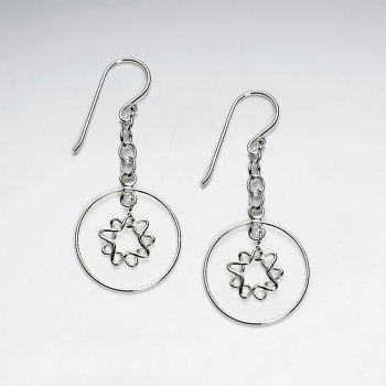 Charming Silver Suspended Hoop Earrings With Sun Flower Dangle