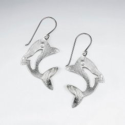 Charming Sterling Silver Dolphin Dangle Hook Earrings with Matte Finishing