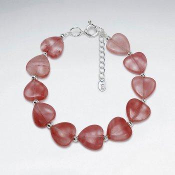 Cherry Quartz Heart Silver Bracelet