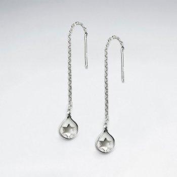 Chic Star Teardrop Suspended Chain Dangle Earrings