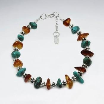 Chunky Amber & Turquoise Beaded Bracelet