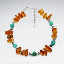 Chunky Sterling Silver Bracelet with Amber Gemstones