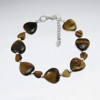 Chunky Sterling Silver Tiger Eye Heart Bracelet