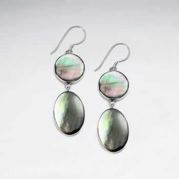 Circle and Oval Mother Of Pearl Double Drop Dangle Earrings