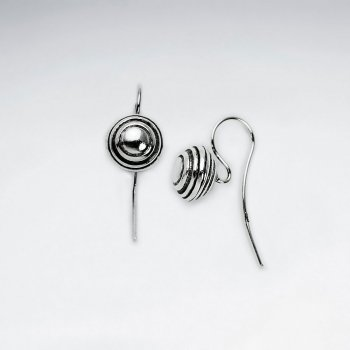 Circle Button Oxidized Silver Drop Hook Earrings