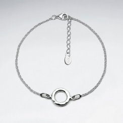 Circle Charm Cutout Bracelet in Sterling Silver