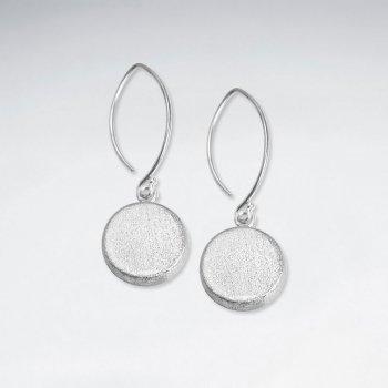 Circle Dangle Drop Button Earrings in Sterling Silver