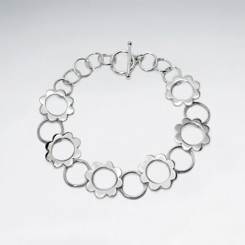Circle Flower Silhouettes Link Bracelet