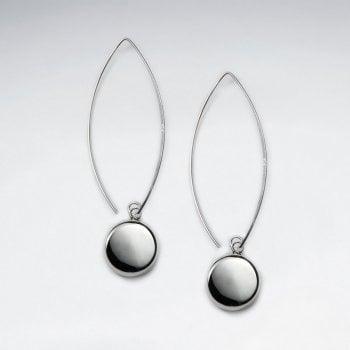 Circle Long Hook Silver Earring