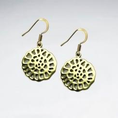 Circle Textured Brass Dangle Drop Earrings