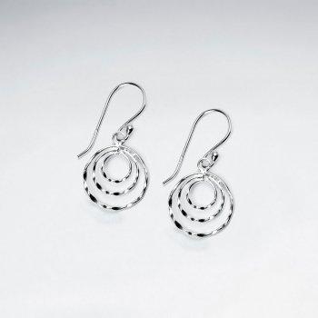 Circles Cutouts Dangle Earrings in Sterling Silver