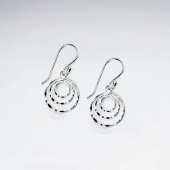Circles Cutouts Dangle Earrings in Sterling Silver
