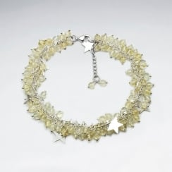 Citrin Bead & Star Charms Dangle Bracelet