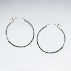 Classic Delicate Hoop Earrings in Silver