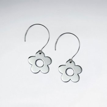 Classic Flower Charm Drop Hook Earrings