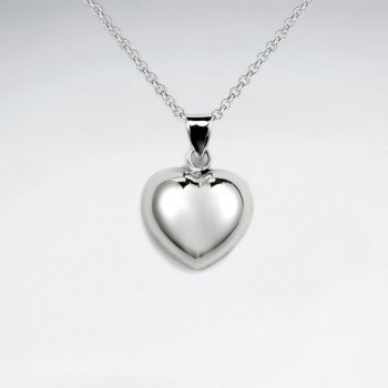 Classic Polished Silver Heart Pendant