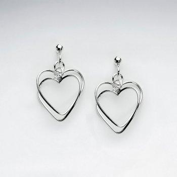 Classic Silver Open Heart Design Dangle Drop Earrings