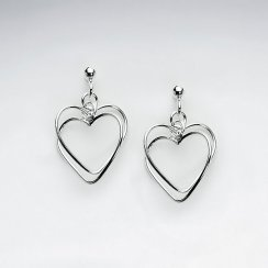 Classic Silver Open Heart Design Dangle Drop Earrings