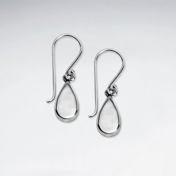 Classy Delicate Sterling Silver Teardrop Dangle Hook Earrings