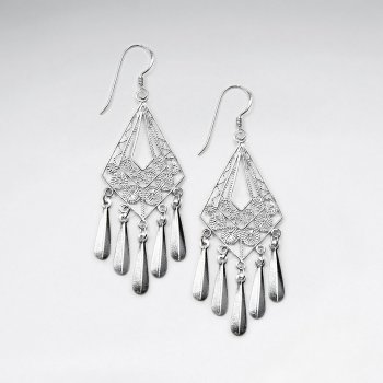 Classy Diamond Shaped Filigree Chandelier Dangle Hook Earrings