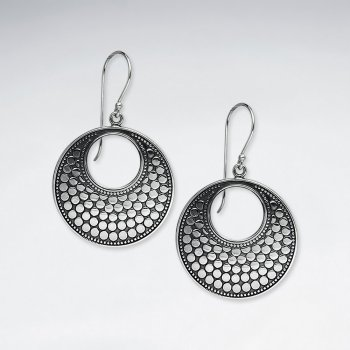 Classy Oxidized Open Circle Dot Drop Dangle Earrings