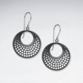 Classy Oxidized Open Circle Dot Drop Dangle Earrings