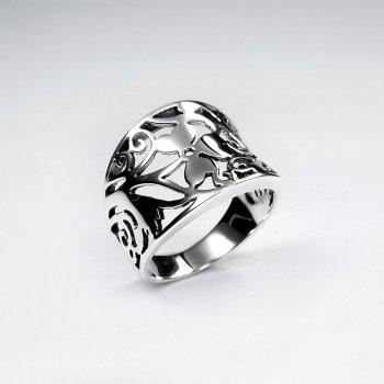 Clover Design Open Cutout Design Silver Ring