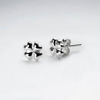 Clover Inspired Petite Silver Stud Earrings