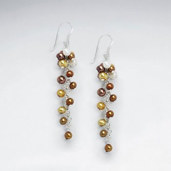 Cluster Dangling Shell Pearl Silver Earring