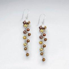 Cluster Dangling Shell Pearl Silver Earring