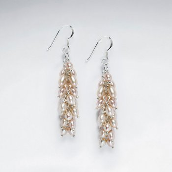 Cluster Pearl Dangling Silver Earring