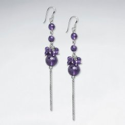 Clustered Dangling Amethyst Silver Earring