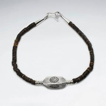 Coconut Beaded & Sterling Silver Charm Bracelet
