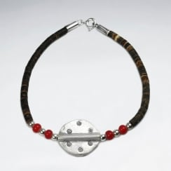 Coconut & Red Glass Bead Circle Charm Sterling Silver Bracelet
