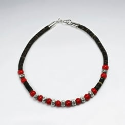 Coconut & Red Glass Bead Sterling Silver Full Beaded Bracelet