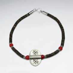 Coconut & Red Glass Beaded Sterling Silver Charm Bracelet
