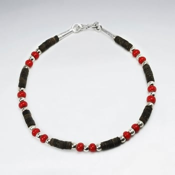 Coconut & Red Glass Full Beaded Bracelet