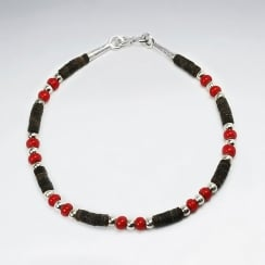 Coconut & Red Glass Full Beaded Bracelet