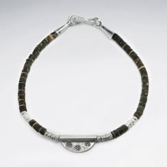 Coconut & Sterling Silver Bead Charm Bracelet