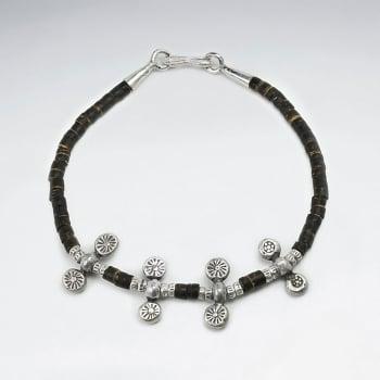 Coconut & Sterling Silver Multi Bead Charm Bracelet