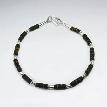 Coconut Tube Beaded Sterling Silver  Bracelet