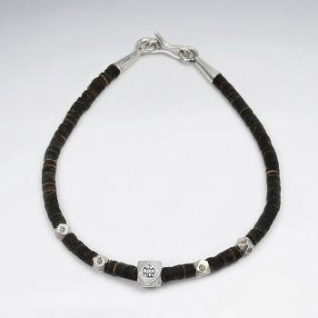 Coconut Tube & Sterling Silver Beaded Bracelet