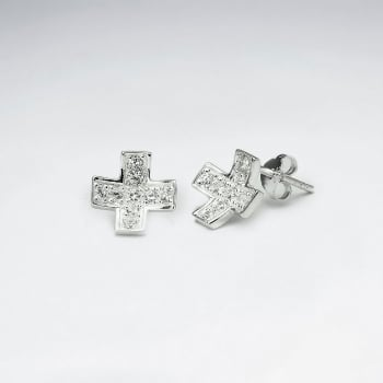 Concave Cross Shaped Silver & CZ Stud Earrings