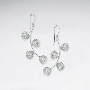 Cool Modern Silver Multi-Branch Bud Drop Hook Earrings