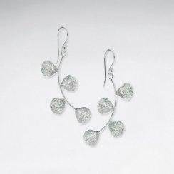 Cool Modern Silver Multi-Branch Bud Drop Hook Earrings