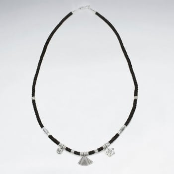 Corded Waxed Cotton Silver Charm Necklace