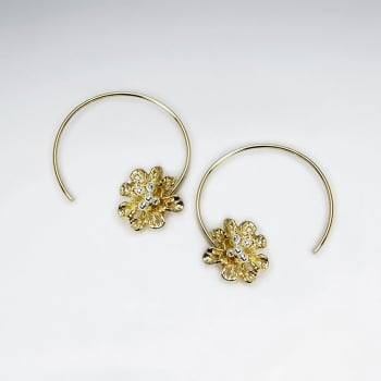 Crescent Hoops Silver Blossom Threader Earrings