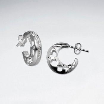 Crescent Moon Textured Filigree Stud Post Earrings