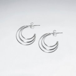 Crescent Moons Sterling Silver Wirework Earrings